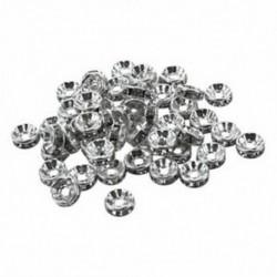 1X (50 x tiszta strasszos Rondelle távtartó gyöngyök 8x3mmďĽˆSilverďĽ ‰ Y7M9)