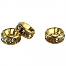 100db 6 mm-es strasszos kristály spacer gyöngyök aranyozott ékszerek készítéséhez L3E4