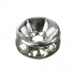 100X fém gyöngyök közbenső gyűrűs távtartó gyöngyök, 6 mm ezüst R8T2