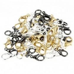 60 darabos keverő homár karom szorítók ékszerek készítéséhez 12 mm-es ezüst aranyból fekete Q5E9