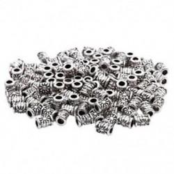 120 db ezüst tónusú faragott cső távtartó gyöngyök 4x6mm - Ékszerkészítés, DIY Cra L9Q5