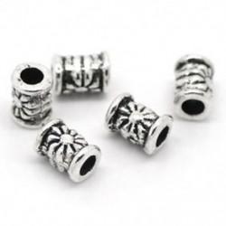 120db ezüst tónusú faragott cső távtartó gyöngyök 4x6mm - ékszerkészítés, DIY Cra B1G0