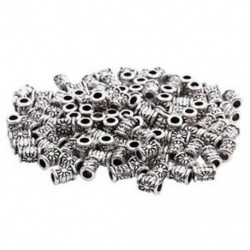 3X (120 db ezüst színű faragott cső távtartó gyöngyök 4x6mm - Ékszerkészítés, DIY N4Y3