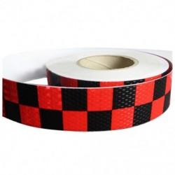 1M fényvisszaverő biztonsági figyelmeztető szembetűnő szalagmatrica, piros   fekete P6W2