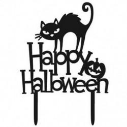2db Happy Halloween fekete macskás akril tortadísz Halloween-re - R2H7