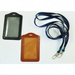 Új 2 db-os műbőr üzleti azonosító jelvény kártya függőleges tartók fekete barna X0P4