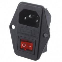 1X (fekete műanyag ház AC 250V 15A 3 P C14 tápcsatlakozó w billenőkapcsolóval V9N6)