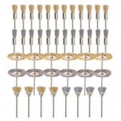 1X (44 darab mini drótkefék kerék kupa sárgaréz acélhuzal kefekészlet 1/8 hüvelykes (H0Q4