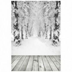 150x90cm-es Szürkés téli havas táj háttér stúdió fotózáshoz - J5E6