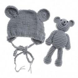 1X (újszülött medve kalap sapka sapka medve babákkal fényképezési kiegészítők E8X9)