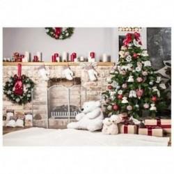 7x5ft karácsonyfa hátteret készítő tégla kandalló újszülött Chris D1S4 számára