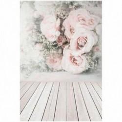 2db 210x150cm-es Rózsaszín rózsa mintás tapéta és deszka padló háttér stúdió fotózáshoz - L3X5