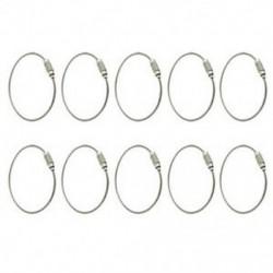 10 db rozsdamentes acél csavaros reteszelő huzal kulcstartó kábelkulcs gyűrűi kültéri A Z5L5