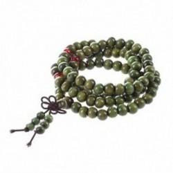 Olívazöld szandálfa gyöngyök Buddha buddhista Mala Stretch nyaklánc rózsafüzér 2 C2V1