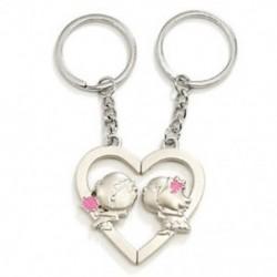 1X (szív csók medál ezüst pár szerelmes kulcstartó Z8O6)