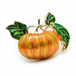 Halloween tök bross új ötvözet zöld levelek narancssárga zománc tök nők D5X8
