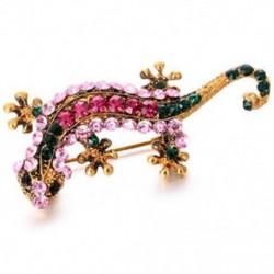 Divatos aranyos állati gekkó brossok ötvözött kristály női bross tűkkel jelvény U7P7