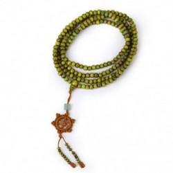 1X (zöld szandálfa 216 db. Gyöngyök Mala buddhista buddha karkötő nyaklánc M7H1)