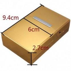 Aranysárga - Mágneses, king size méretű fém-alumínium zseb cigaretta dohány doboz tokja BEB