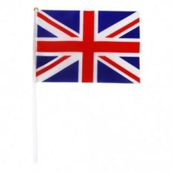 Kézzel hullámosító Union Jack zászlók műanyag pólusai 21 x 14 cm-es csomagban, 12 piros   fehér U4B2-vel