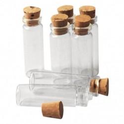 1X (20 db 11X32Mm apró mini üres átlátszó parafa üveg palackok 2 ml I5I1)