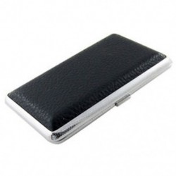 Új speciális fémkeret fekete műbőr cigarettatartó doboz Z1I3 R2T3