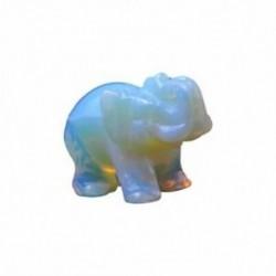 2X (Fehér, kézzel faragott gyalogos elefánt dísz dekoráció drágakő ajándék Collecto W0K8