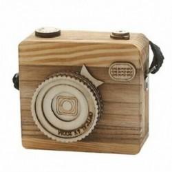 Kreatív retro fényképezőgép stílusú fa zenedoboz ajándék karácsonyra Boldog Bir P2U0