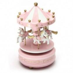 Zenei körhinta ló fa körhinta zene doboz játék gyermek baba rózsaszín játék B5K7