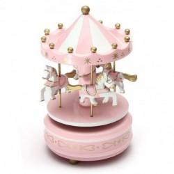 1X (zenei körhinta ló fa körhinta zenei doboz játék gyermek baba rózsaszín gam P1O1
