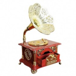 Kreatív fonográf zenedoboz ékszerdoboz ajándék karácsonyi Retro zenedoboz Ha Y1E8
