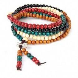 1X (6mm többszínű tibeti 216 db gyöngyök buddhista buddhista karkötő nyaklánc H5P9)