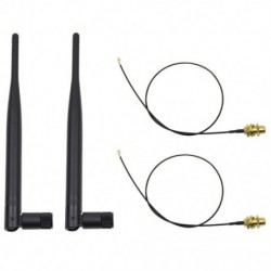 1X (2 x 6dBi, 2,4 GHz-es, 5 GHz-es kettős sávú WiFi RP-SMA antenna   2 x 35 cm U.fl / IPE S5M0