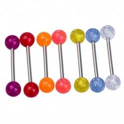 1X (7 színű csillogó nyelv bárcsengő súlyzó test-piercing I1N9)