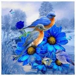 Kézimunka hímzés hímzés 5D gyémántfestés madár egy kék virág kép J4H6