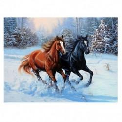 1X (5D DIY gyémántfestésű állati két ló hímzéssel készített hímzésű hímzés F2K1 keresztszemes