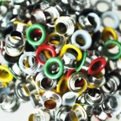 200 db fém színes kerek fűzőlyukak / szegecsek vegyes színek 9 mm Q9A9 B7O1