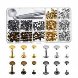 1X (180-as készlet, 3 méretű bőr szegecsek, egysapkás szegecsek, cső alakú fémcsavarok, Z5Q6
