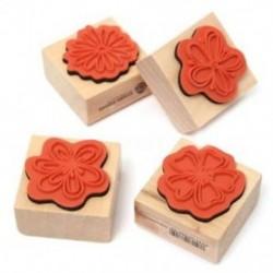 4X DIY édes virágok szett naplója Scrapbook virágos dekoráció fa gumibélyegző F0P3