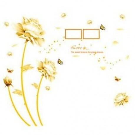 9X (Arany Virágos Falimatrica Kínai Stílusú Diy Falimatrica Nappali Tv / L2B7