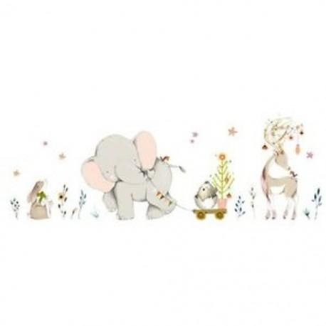 9X (Cartoon Forest Flowe elefánt nyúl zsiráf állati falimatrica gyerekeknek R G5E2