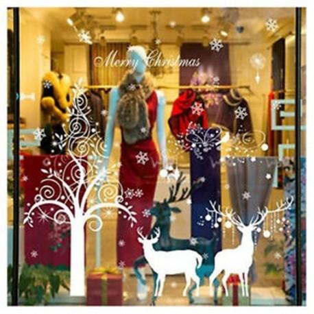 5X (DIY hatalmas lakberendezési forma karácsonyfa szarvasok falimatrica ablaküveg bolt P7D9