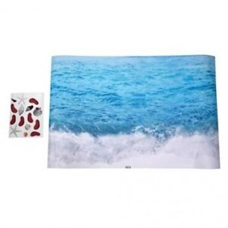 5X (1 kék PVC kreatív 3D hullámú nappali szoba hálószoba gyermekek padlója C0B4