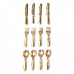 1/12 Doll House miniatűr rozsdamentes acélból készült edénykészlet, 12 darab arany L9V7