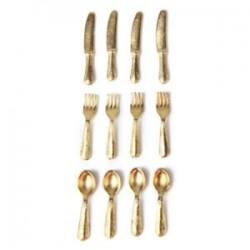 1/12 Doll House miniatűr rozsdamentes acélból készült edénykészlet, 12 darab arany M3I9