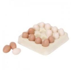 1/12 babaház miniatűr tojáskarton 16 darabos tojásbabaházakkal X3M1