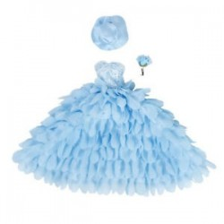 Esküvői ruha és kalap virággal Barbie babákhoz (kék) R5E2