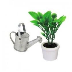 1/12 Dollhouse miniatűr kerti kiegészítő zöld növény fehér potban R8R1