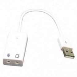 1X (Fehér USB 2.0 3D virtuális 7.1 csatornás audio hangkártya adapter PC G6Y3 laptophoz)