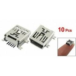 SODIAL (R) 10 x Mini USB 5-pólusú aljzat Aljzat forrasztható dugasz adapter csatlakozója I3X1